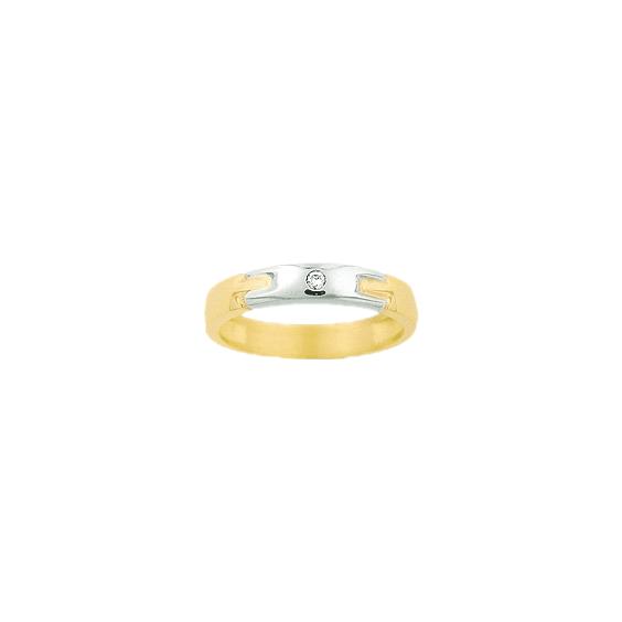 Bague Léandor or 9 carats bicolore et diamant - La Petite Française