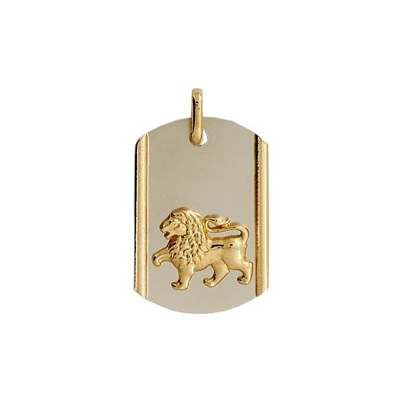 Pendentif lion plaque Or 9 carats bicolore - La Petite Française