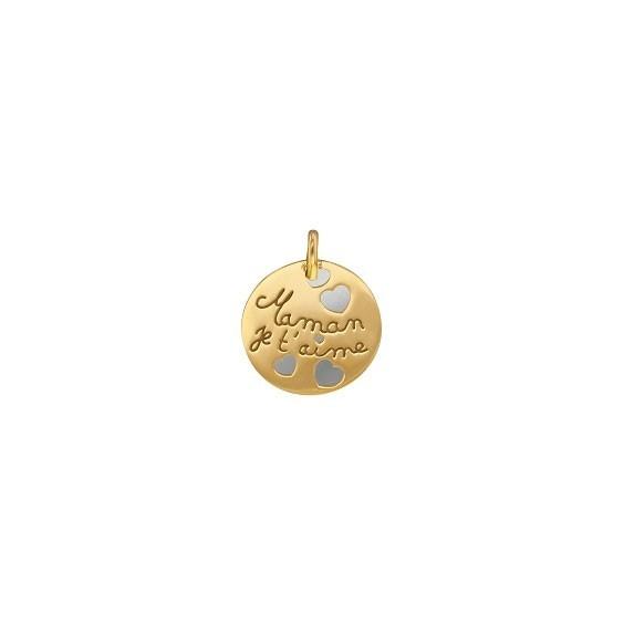 Médaille Maman je t'aime Or 9 carats jaune - La Petite Française