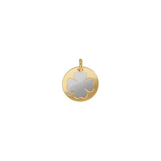 Médaille trèfle blanc Or 18 carats jaune - 16 MM - La Petite Française