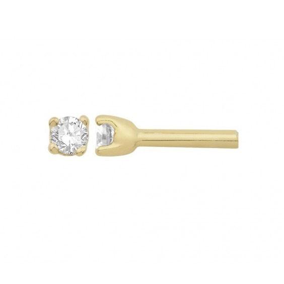 Boucles d'oreilles diamants,0.11 carat GSI1 4 griffes - Or 18 carats jaune - La Petite Française