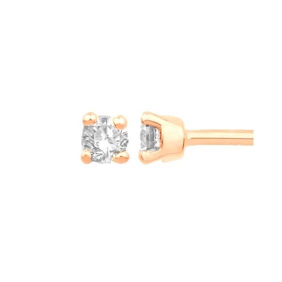 Boucles d'oreilles diamants,0.11 carat GSI1 4 griffes - Or 18 carats rose - La Petite Française