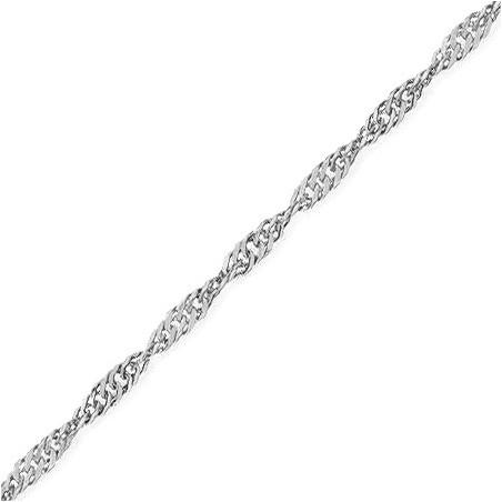 Chaîne singapour Or 9 carats gris 1.6 mm - 40 cm - La Petite Française
