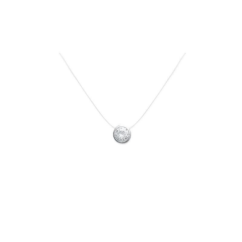 Collier fil nylon rond zirconium argent - La Petite Française
