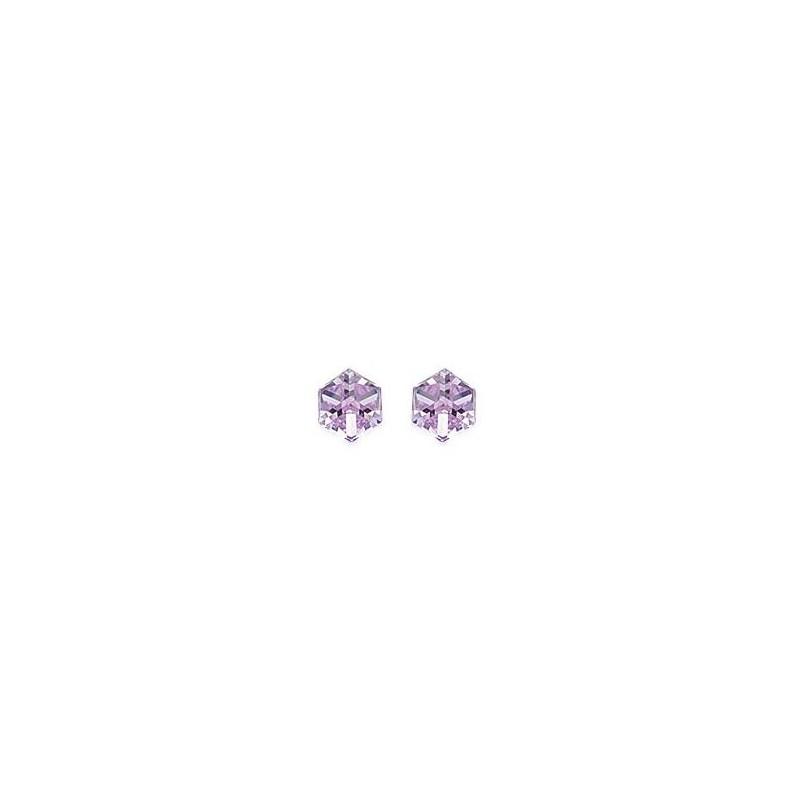 Boucles d'oreilles cristal mauve argent - La Petite Française