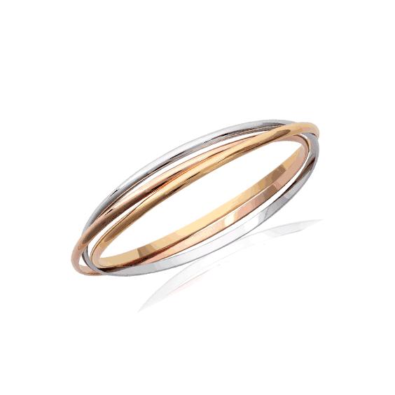 Bracelet jonc 3 anneaux 3 tons plaqué or - La Petite Française