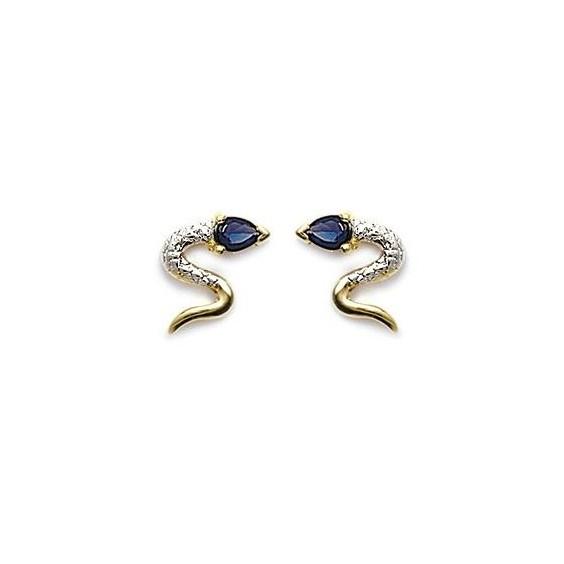Boucles d'oreilles serpent bleu plaqué or - La Petite Française