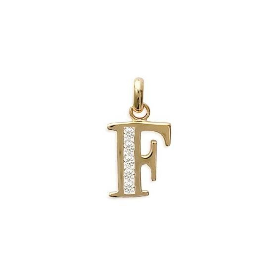Pendentif lettre F et zirconiums plaqué or - La Petite Française