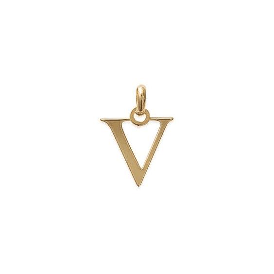 Pendentif lettre V plaqué or - La Petite Française