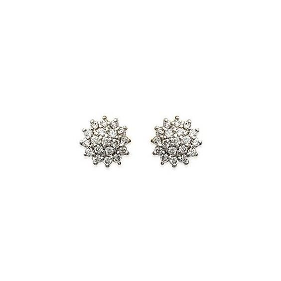 Boucles d'oreilles fleurs vintage plaqué or et zirconiums - La Petite Française