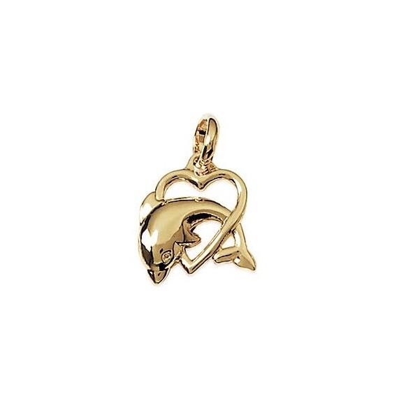 Pendentif dauphin et coeur plaqué or - La Petite Française