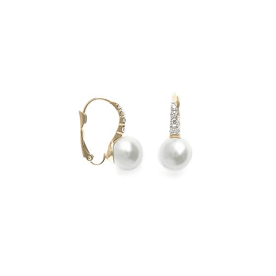 Boucles d'oreilles Teaki perle plaqué or et zirconiums - La Petite Française