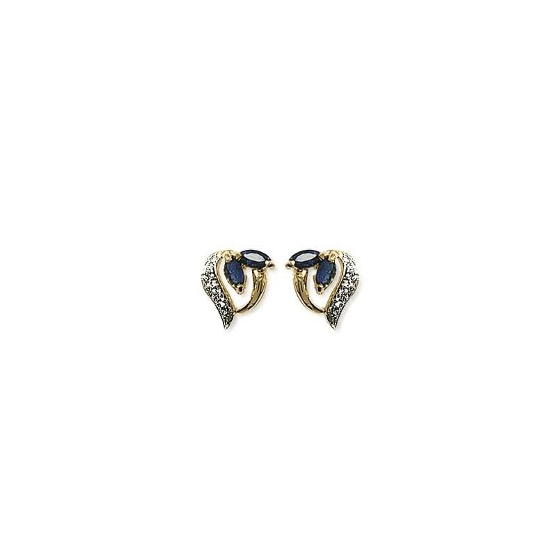 Boucles d'oreilles saphir Jeanne plaqué or - La Petite Française