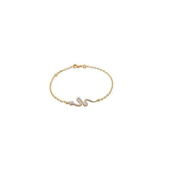 Bracelet serpent strass plaqué or - La Petite Française