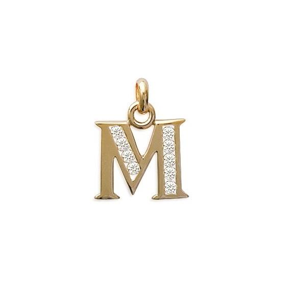 Pendentif lettre M et zirconiums plaqué or - La Petite Française
