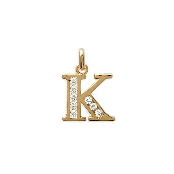 Pendentif lettre K et zirconiums plaqué or - La Petite Française