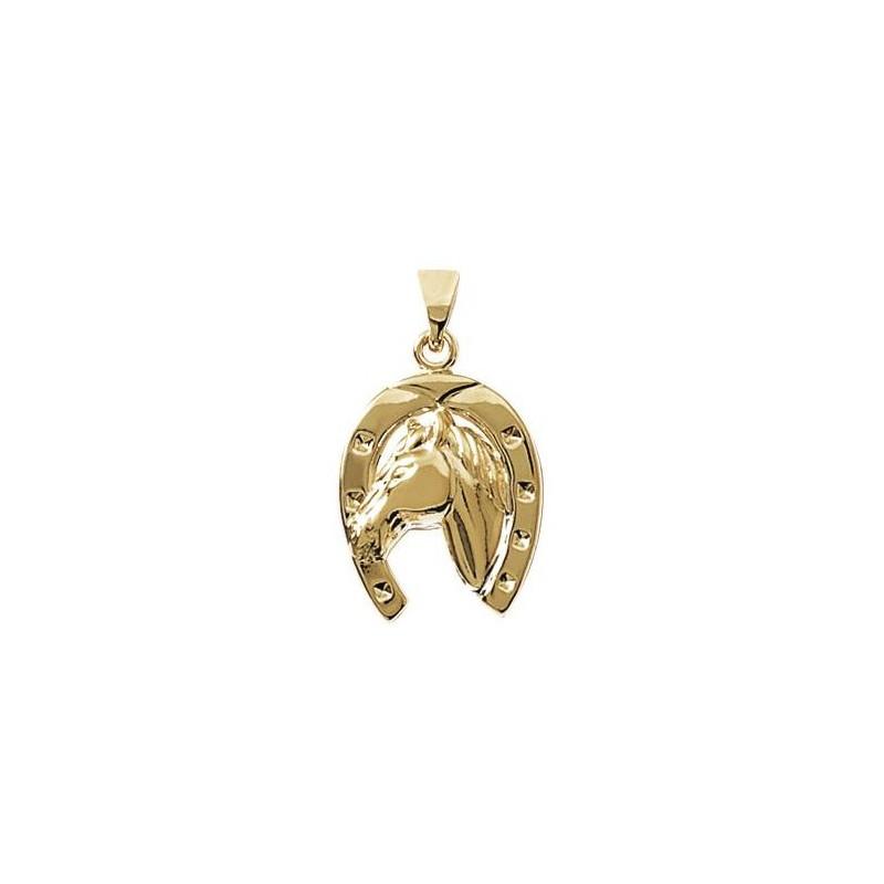 Pendentif fer et tête de cheval plaqué or - La Petite Française
