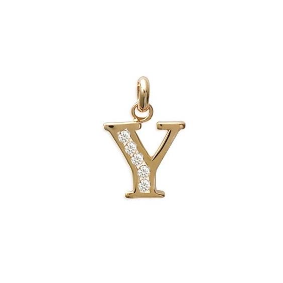 Pendentif lettre Y et zirconiums plaqué or - La Petite Française