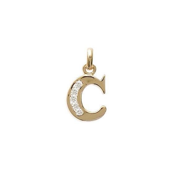 Pendentif lettre C et zirconiums plaqué or - La Petite Française