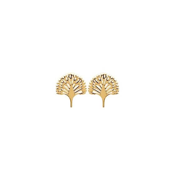 Boucles d'oreilles arbre du voyageur plaqué or - La Petite Française