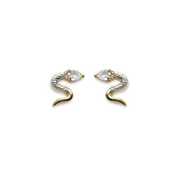 Boucles d'oreilles serpent blanc plaqué or - La Petite Française