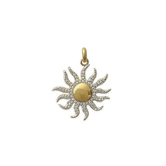 Pendentif soleil plaqué or et zirconium - La Petite Française