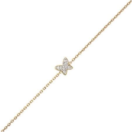 Bracelet papillon zirconium et plaqué or - La Petite Française