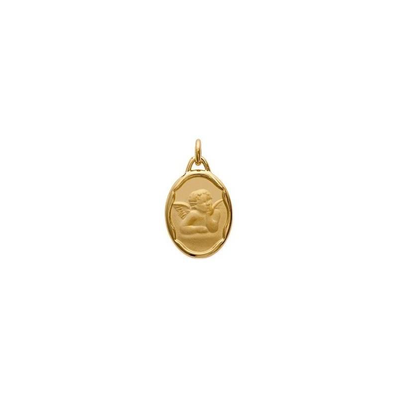 Médaille Ange de Raphaël ovale plaqué or - La Petite Française