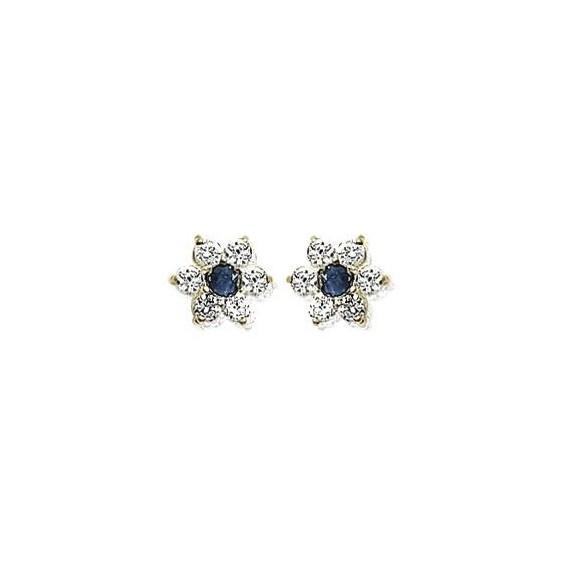 Boucles d'oreilles saphir fleur plaqué or - La Petite Française