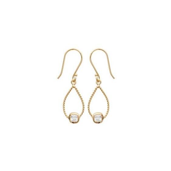 Boucles d'oreilles pendantes Morgane plaqué or - La Petite Française
