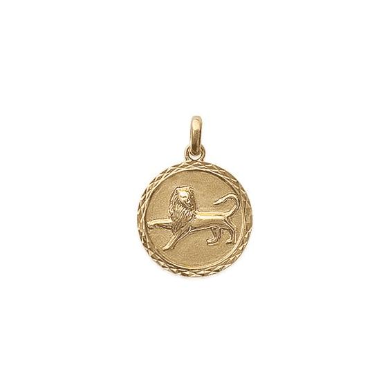 Pendentif lion rond ciselé plaqué or - La Petite Française