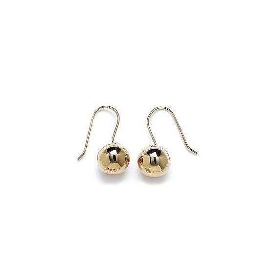 Boucles d'oreilles pendante boule 12 mm plaqué or - La Petite Française