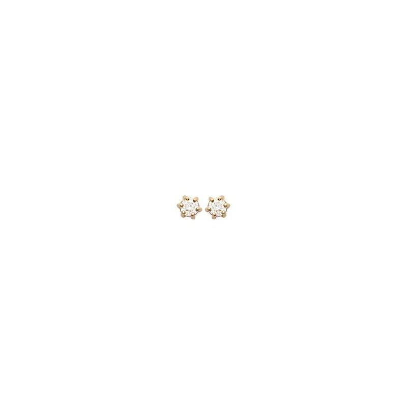 Boucles d'oreilles zirconium rond 3 mm - 6 griffes  plaqué or - La Petite Française
