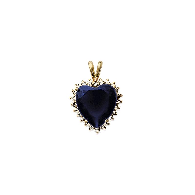 Pendentif coeur bleu plaqué or - La Petite Française