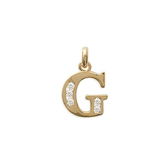 Pendentif lettre G et zirconiums plaqué or - La Petite Française
