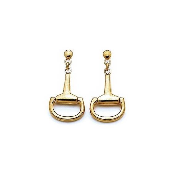 Boucles d'oreilles pendantes étriers plaqué or - La Petite Française