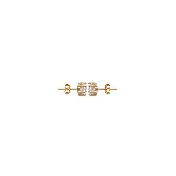 Boucles d'oreilles zirconium rond 6 mm - 6 griffes plaqué or - La Petite Française