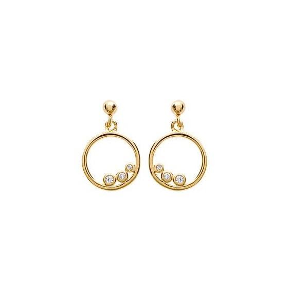 Boucles d'oreilles anneau 3 zirconiums plaqué or - La Petite Française