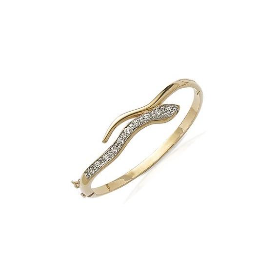Bracelet jonc serpent strass plaqué or - La Petite Française