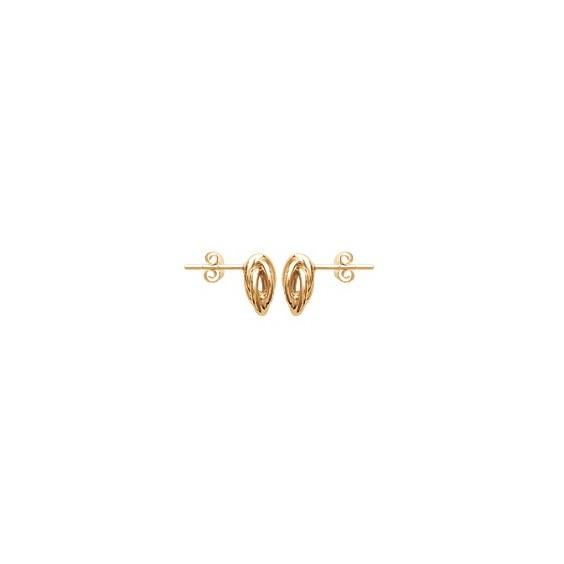 Boucles d'oreilles noeud Antillais plaqué or et zirconium - La Petite Française