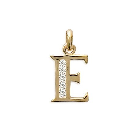 Pendentif lettre E et zirconiums plaqué or - La Petite Française