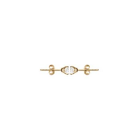 Boucles d'oreilles zirconium rond 5 mm- 4 griffes  plaqué or - La Petite Française