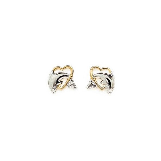 Boucles d'oreilles dauphin coeur plaqué or bicolore - La Petite Française