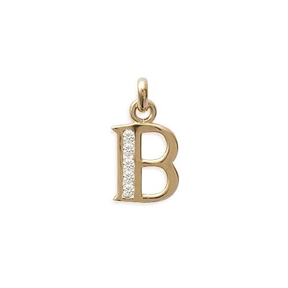 Pendentif lettre B et zirconiums plaqué or - La Petite Française
