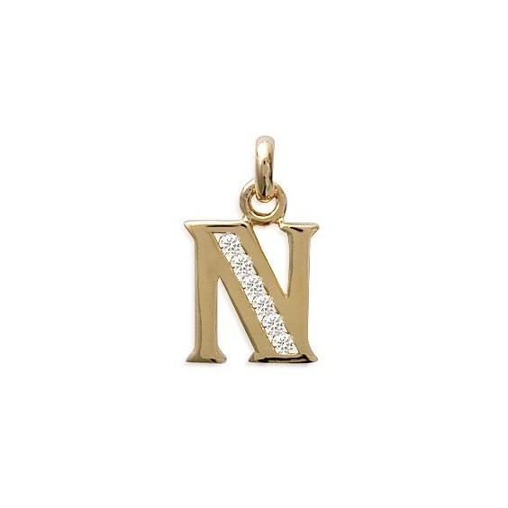 Pendentif lettre N et zirconiums plaqué or - La Petite Française