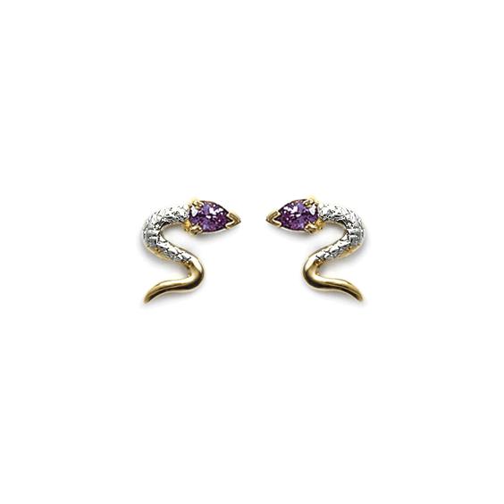 Boucles d'oreilles serpent violet plaqué or - La Petite Française