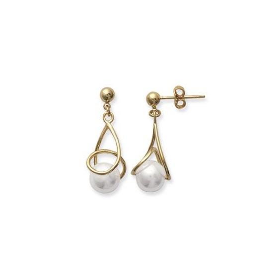 Boucles d'oreilles Teria perle plaqué or - La Petite Française