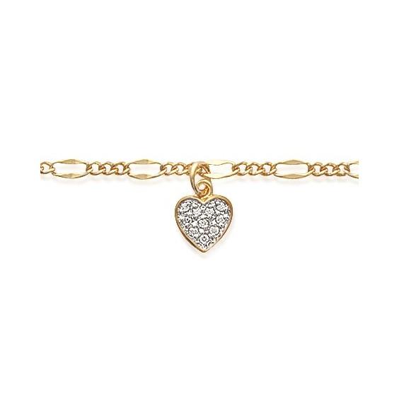 Chaîne de cheville coeur plaqué or - La Petite Française