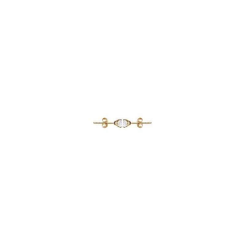 Boucles d'oreilles zirconium rond 6 mm - 4 griffes plaqué or - La Petite Française