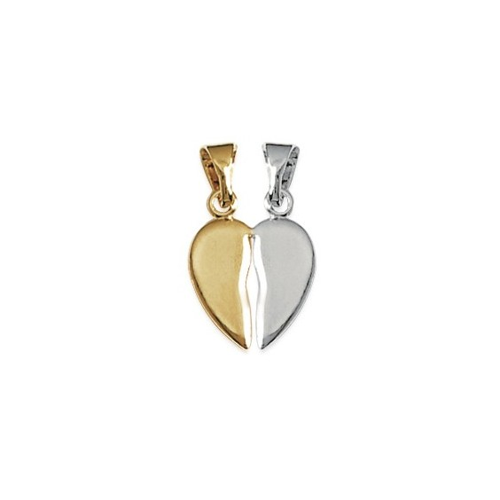 Pendentif Coeur sécable bicolore PM plaqué or - La Petite Française